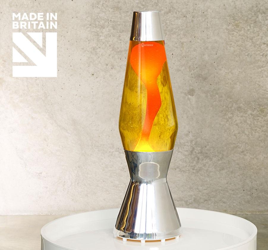 Mathmos Astro Zilver Geel met Oranje lava