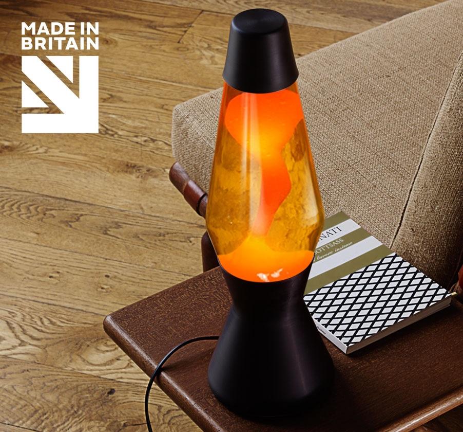 Mathmos Astro Zwart Geel met Oranje lava